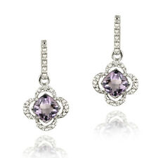 Silver 1.5ct Amethyst & Diamond Flower Dangle Earrings