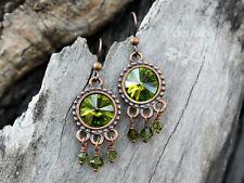 Autumn Revelry - Olivine green crystal rivoli & copper earrings – Fall Boho chic