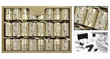 8 Premium Christmas Crackers - Gold/Holly
