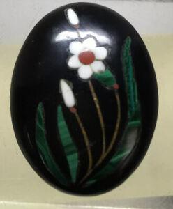 40/30mm Antique Cabochon  Black Jade Inlaid Flowers Malachite Coral #127
