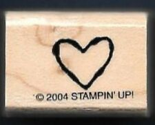HEART STENCIL Love Gift Tag small Stampin Up! 2004 Wood Mount Craft RUBBER STAMP