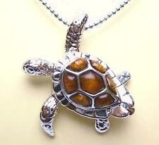 "32.5mm Hawaiian GenuIne Inlaid Koa Wood Brass Turtle Pendant DC 14kWGP 18"" Chain"