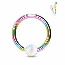 Body Jewelry Piercing Nose Hoop Ring Rainbow 16G (8mm) Created-Opal Ball