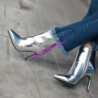 Womens Patent Leather Stiletto High Heel Ankle Boots Pointy Toe Zipper Shoes Hot
