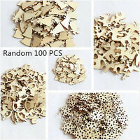 100pcs/set Christmas Decor Xmas Wood Chip Tree Ornaments Hanging Gifts Ornament
