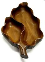 Wooden Serving Tray Leaf Divided Dish Bowl Wood Vintage Mid Century Modern