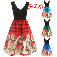 Women Sleeveless Christmas Cats Musical Notes Print Xmas Party Skater Dress Suit