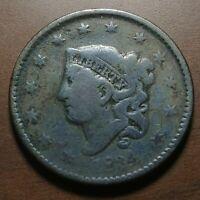 1834 Coronet Head Large Cent CHOICE VG