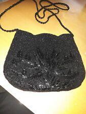 "Small beaded ""Debut"" black shoulder bag"