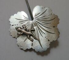 Antique Hatpin Silver Lizard on Lotus Leaf