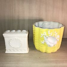 Fitz and Floyd•Sea Shell•Bathroom Ware•Toothbrush Holder•Yellow Shell Basket