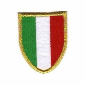 [Patch] ITALIA SCUDETTO bordo oro Juventus Milan Inter cm 5 x 6,5 ricamo -