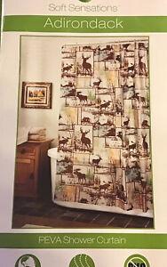 "Peva Vinyl Shower Curtain Adirondack Brown Moose Buck Cabin Lodge Decor 70""x72"""