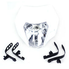 White Universal Dual Headlight Head Lamp Light Streetfighter Supermoto Motocross
