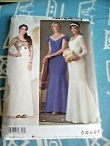 Simplicity 8329 fishtail long dress pattern sizes U.S. 4-12