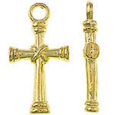 10 x Tibetan Style Gold Cross Charms~ 11x21x3mm