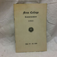 Vintage 1933 Fenn College Commencement Program Cleveland Ohio