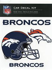 NEW DENVER BRONCOS CAR DECAL KIT - NINE VINYL DECALS, EASY TO APPLY & REMOVE
