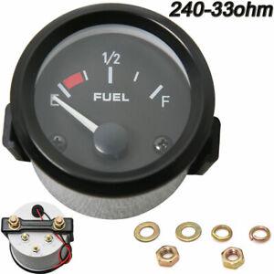 2'' 52mm Universal Car 12V Black Bezel Gas Fuel Level Gauge Analogue White LED