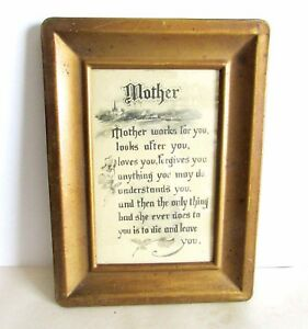 "Antique Metal Framed MOTHER Verse Motto Plaque Schlesinger Bros NY 7.5"" FREE SH"