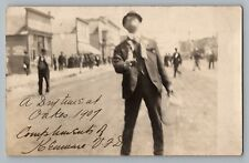Oakes ND Fire Chief Drinking Alcohol In Street Kenmare Real Photo Postcard 1907
