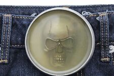 Men Women Silver Metal Halloween Fashion Belt Buckle Skeleton Skull Gothic Punk