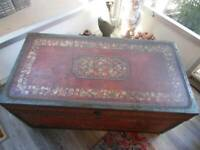 """antique 1800's WOOD CHEST hand painted pig skin leather brass 41"""" x 21"""" x 20"""""""