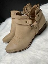 Justfab Women's Size 6 Lynn Ankle Cowboy Booties Beige Light Brown Vegan Leather