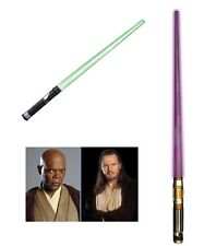 STAR WARS Light Saber purple green MACE WINDU & QUI-GON JEDI Lightsaber DISNEY