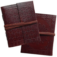 """5"""" Real Leather Handmade Embossed Journal Sketchbook Diary Notebook 2nds Quality"""