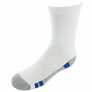 Hanes Boy's Comfort Blend Crew Socks (6 Pair Pack), Large 3-9 Shoe Size, White