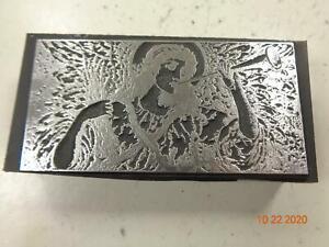 Printing Letterpress Printer Block Decorative Angel w Horn Print Cut