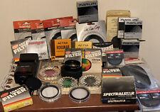 Huge Lot of Over 30 Vintage Film Camera Lens Filters & Accessories 55mm 49mm