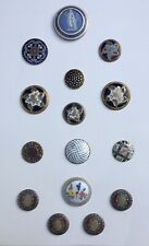 Antique Enamel Buttons Large Wedgewood, Guilloche, Pierced, Champleve,
