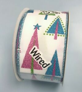 Mod Christmas Trees White Wide Wired Ribbon 10yd pink blue green holiday hip bow