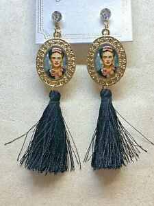 Frida Kahlo With Tassel Black Fashion Earrings