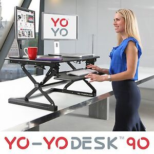 YO-YO DESK 90-Height Adjustable Standing Desk (BLACK).Superior sit-stand Desk.