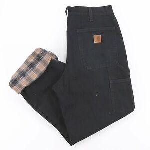 Vintage CARHARTT  Black Denim Regular Straight Jeans Mens W33 L32