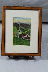 Aquarell Kirche St. Cyprian - signiert + datiert 1927 - Kirschbaum Rahmen /S195