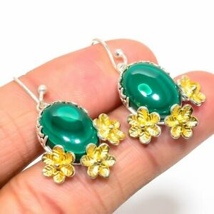 """Russian Malachite Gold Plated Two Tone 925 Sterling Silver Earring 1.6"""" E1079-23"""