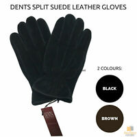 Dents Split Suede Genuine Leather Gloves Fleece Lining Warm Winter Men's ML1053