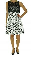 Betsy & Adam Dress Sz 6 Black White Polka Dot Lace Pleated Cocktail Party Dress