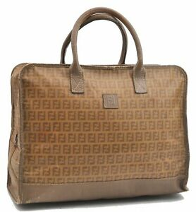 Authentic FENDI Zucchino Hand Bag PVC Leather Beige A6751