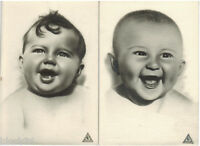 1950's Two (2) Russian postcards with photos of HAPPY INFANTS