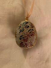 Cloisonné Egg Ornament, Gold Tone, Enamel Butterflies, Easter Decor, Collectible