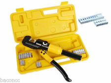10 Ton Hydraulic Crimping Battery Cable Wire Crimper Lug Terminal Tool w/ 9 Die