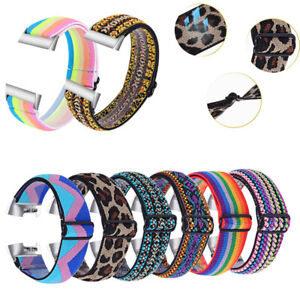 Nylon Woven Elastic Replacement Sport Watch Strap Band For Fitbit Charge 4 3 2