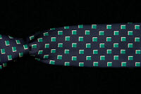 TURNBULL & ASSER Tie, Midnight Blue Silk Twill w Green White Squares ENGLAND
