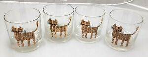 Vintage COUROC Lowball CAT Glasses Set/4 Gold MCM Glass Barware 8-ounce Rocks