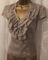 Karen Millen Frill V Neck Pintuck Cap Sleeve Soft Silk Drape Top Blouse  8 12 14